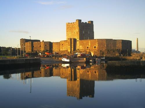 Carrickfergus_Castle _reflections_at_sunset_-_geograph.org.uk_-_1098306
